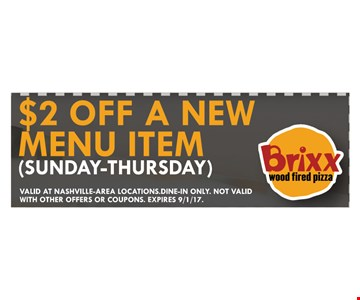 $2 off new menu item
