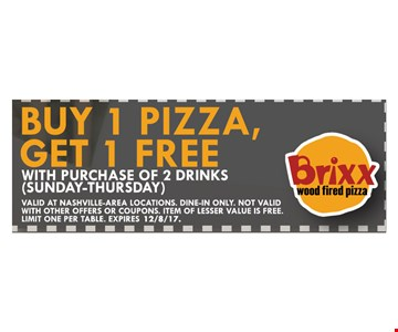 Buy 1 pizza get 1 free