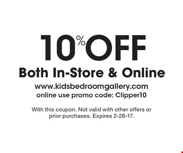 10% Off Both In-Store & Online. With this coupon. Not valid with other offers or prior purchases. Expires 2-28-17.