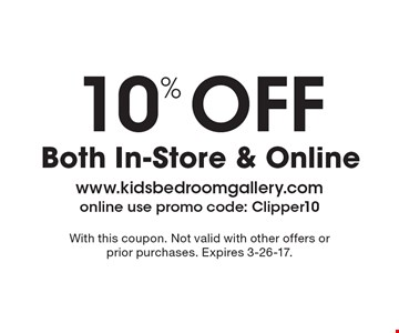 10% Off Both In-Store & Online. With this coupon. Not valid with other offers or prior purchases. Expires 3-26-17.