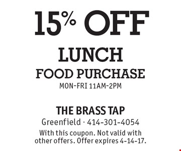 15% off lunch food purchase Mon-Fri 11am-2pm. With this coupon. Not valid with other offers. Offer expires 4-14-17.