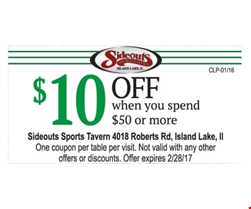 $10 Off when you spend $50 or more.