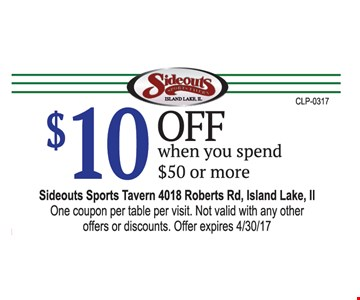 $10 Off when you spend $50 or more