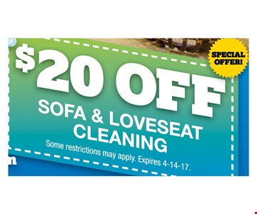 $20 off sofa & loveseat cleaning