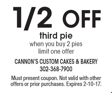 1/2 off third pie when you buy 2 pies. Limit one offer. Must present coupon. Not valid with other offers or prior purchases. Expires 2-10-17.