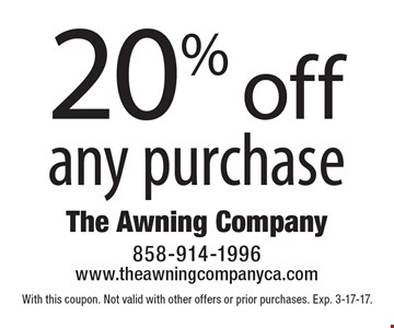 20% off any purchase. With this coupon. Not valid with other offers or prior purchases. Exp. 3-17-17.