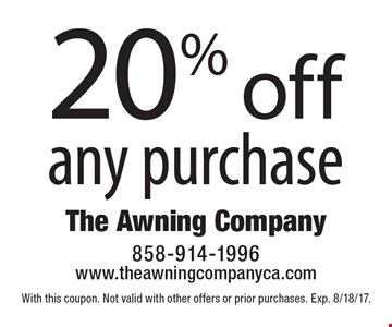 20% off any purchase. With this coupon. Not valid with other offers or prior purchases. Exp. 8/18/17.
