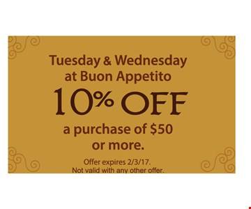 10% off a purchase of $50 or more