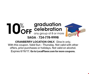 10% Off graduation celebration any group of 8 or more. Cranberry location only. Dine In only. With this coupon. Valid Sun - Thursday. Not valid with other offers, prior purchases or holidays. Not valid on alcohol. Expires 6/16/17. Go to LocalFlavor.com for more coupons.