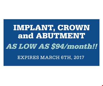 implant, crown, and abutment as low as $94/month