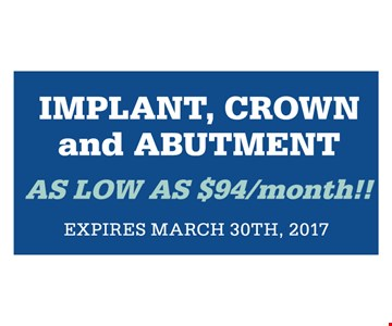 Implant, crown and abutment as low as $94/month