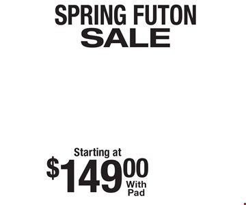 Starting at $149 Spring Futon Sale. With pad.