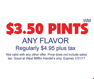 Any flavor pints for $3.50