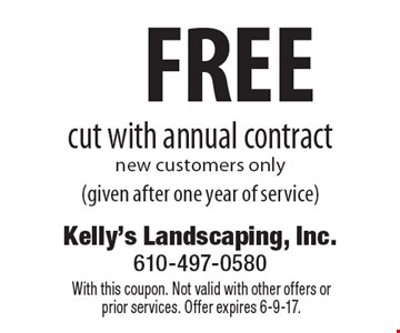 Free cut with annual contract. New customers only (given after one year of service). With this coupon. Not valid with other offers or prior services. Offer expires 6-9-17.