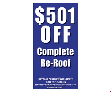 $501 Off Complete Re-Roof