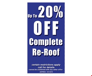 20% Off Complete Re-Roof