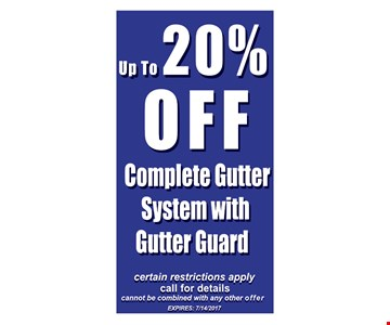 up to 20% off complete gutter system with gutter guard