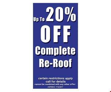 up to 20% off complete re-roof