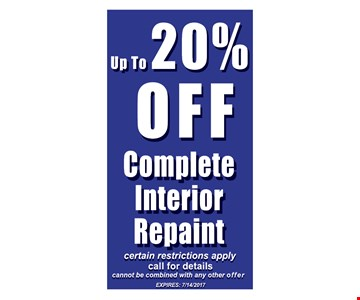 up to 20% off complete interior repaint