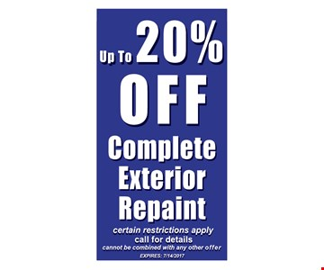 up to 20% off complete exterior repaint