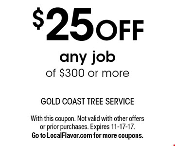$25 OFF any job of $300 or more. With this coupon. Not valid with other offers or prior purchases. Expires 11-17-17. Go to LocalFlavor.com for more coupons.