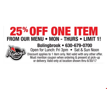 25% Off One Item
