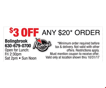 $3 off any $20 order
