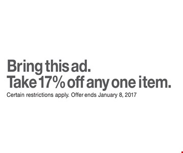 Take 17% off any one item.