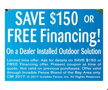 Save $150 or Free financing