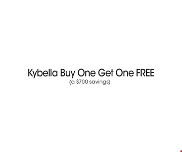 Kybella Buy One Get One FREE (a $700 savings). *Must present coupon. This limited time offer expires 1/27/17. Cannot be combined with other offers or promotions. 1 coupon per client per treatment. Some exclusions and restrictions may apply. Call for more details.