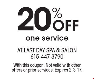 20% Off one service. With this coupon. Not valid with other offers or prior services. Expires 2-3-17.