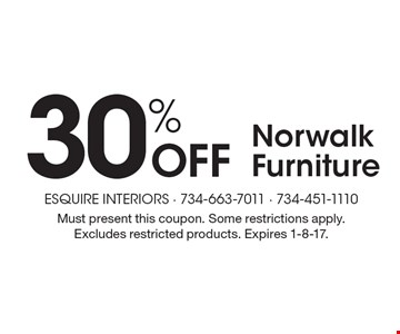 30% Off Norwalk Furniture. Must present this coupon. Some restrictions apply. Excludes restricted products. Expires 1-8-17.