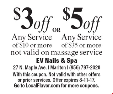 $5 off Any Service of $35 or more OR $3off Any Service of $10 or more.  Not valid on massage service. With this coupon. Not valid with other offers or prior services. Offer expires 8-11-17. Go to LocalFlavor.com for more coupons.