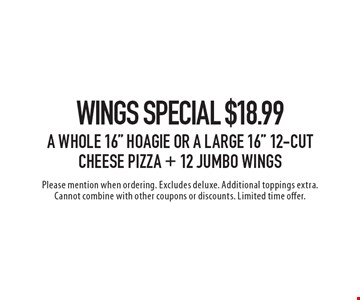 Wings special $18.99 a whole 16