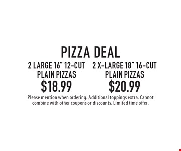 Pizza deal 2 large 16