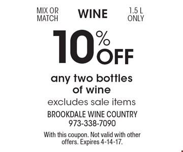Wine 10% Off any two bottles of wine, excludes sale items. Mix or match 1.5 L only. With this coupon. Not valid with other offers. Expires 4-14-17.