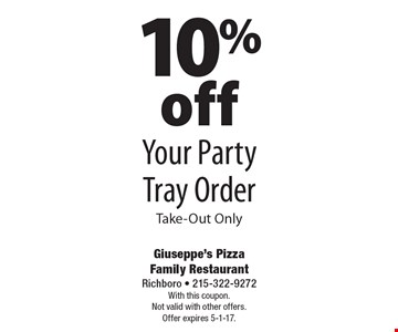 10% off Your Party Tray Order Take-Out Only. With this coupon. Not valid with other offers. Offer expires 5-1-17.