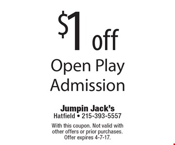 $1 off Open Play Admission. With this coupon. Not valid with other offers or prior purchases. Offer expires 4-7-17.