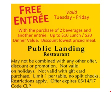 Free entree with purchase.