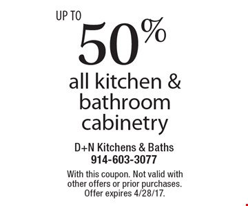 Up to 50% off all kitchen & bathroom cabinetry. With this coupon. Not valid with other offers or prior purchases. Offer expires 4/28/17.