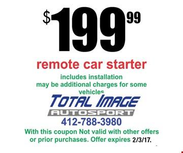 $199.99 remote car starter