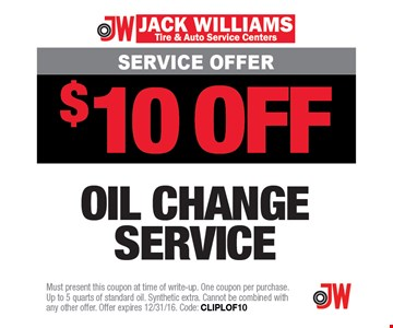 $10 off oil change service