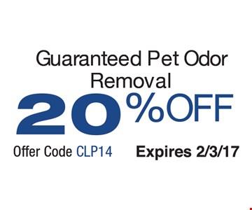 Guaranteed Pet Odor Removal 20% Off