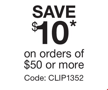 SAVE $10* on orders of $50 or more Code: CLIP1352. *Offer expires 2/10/17. Cannot be combined with any other offer. Restrictions may apply. See store for details. Edible®, Edible Arrangements®, the Fruit Basket Logo, and other marks mentioned herein are registered trademarks of Edible Arrangements, LLC. © 2016 Edible Arrangements, LLC. All rights reserved.