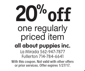 20% off one regularly priced item. With this coupon. Not valid with other offers or prior services. Offer expires 1/27/17.