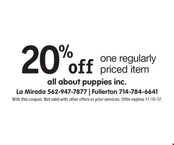 20% off one regularly priced item. With this coupon. Not valid with other offers or prior services. Offer expires 11-10-17.