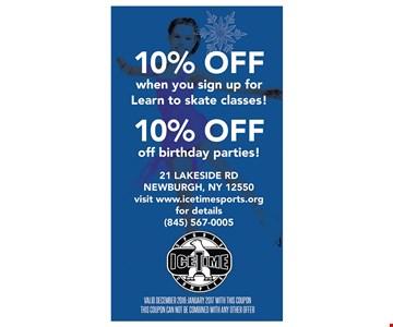 10% off birthday parties