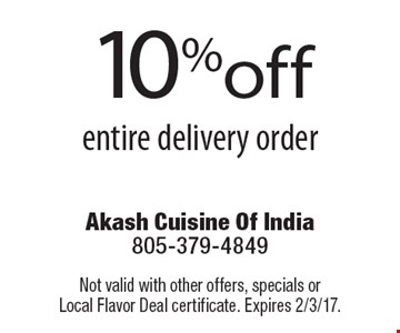10% off entire delivery order. Not valid with other offers, specials or Local Flavor Deal certificate. Expires 2/3/17.