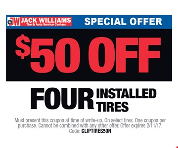 $50 Off Four Installed Tires