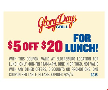 $5 Off $20 For Lunch